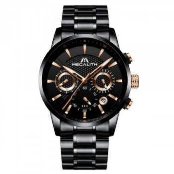 Мужские кварцевые часы Megalith Black наручные классические на стальном браслете + коробка (1088-0019)