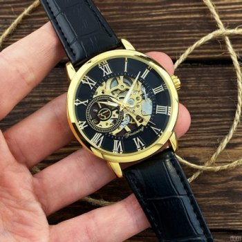 Мужские механичиские часы Forsining Black наручные классические на кожаном ремешке + коробка (1059-0001)