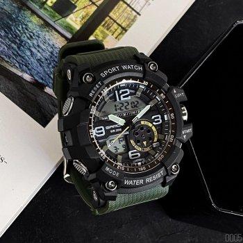 Женские кварцевые часы Sanda Green наручные спортивные на пластиковом ремешке + коробка (1044-0005)