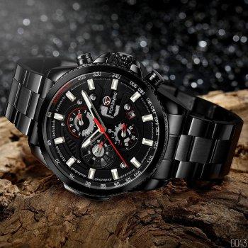 Мужские механичиские часы Forsining Black классические на стальном браслете + коробка (1059-0043)