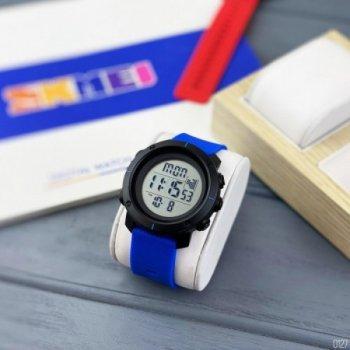 Мужские электронные часы Skmei Black наручные спортивные на пластиковом ремешке + коробка (1080-0127)