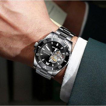 Мужские механичиские часы Megalith Silver наручные классические на стальном браслете + коробка (1088-0093)