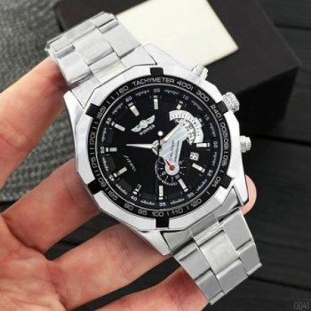 Мужские механичиские часы Winner Silver наручные классические на стальном браслете + коробка (1099-0041)