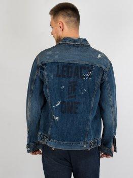 Джинсовая куртка с принтом H&M 592828 Синий