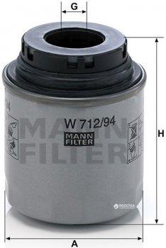Фильтр масляный MANN W 712/94 - W 712/91