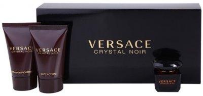 Набор для женщин Versace Crystal Noir туалетная вода 5 мл + гель для душа 25 мл + лосьон для тела 25 мл (8011003810475)