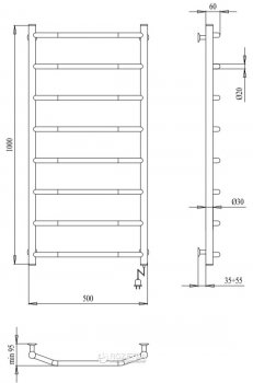 Полотенцесушитель PALADII Классик Электро РШе005Р R 1000х500/8 регулятор R
