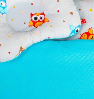 Набор в коляску летний BabySoon Забавные совы одеяло 65 х 75 см подушка 22 х 26 см бирюзовый (087)