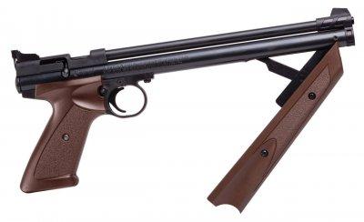 Пневматичний пістолет Crosman American Classic P1377BR коричневий мультикомпресійний 183 м/с