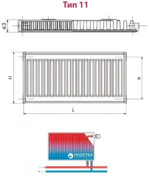 Радиатор HI-THERM 300x600 мм Тип 11 нижний (VK11300600)