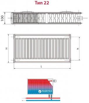 Радиатор HI-THERM 500x1000 мм Тип 22 нижний (VK225001000)