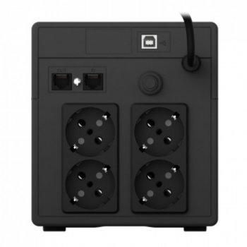 ДБЖ NJOY Cadu 1000 (UPCMTLS610HCAAZ01B), Lin.int., AVR, 4 x Schuko, USB, LCD, пластик