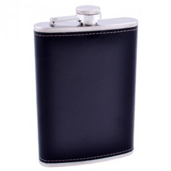 Фляга из нержавеющей стали (Кожа) №FS-9 Black
