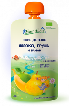Пюре Fleur Alpine органічне дитяче Яблуко, Груша і Банан 120 г