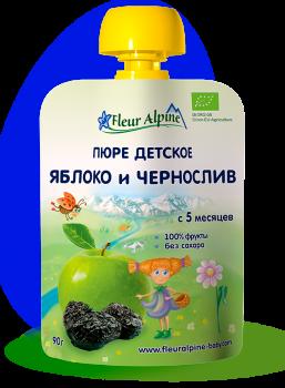 Пюре Fleur Alpine органічне дитяче Яблуко і Чорнослив 90 г