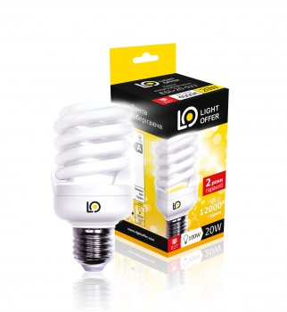 Енергозберігаюча лампа Light Offer Т2 Spiral ЕSL 20W E27 4000К 1320Lm (ЕSL - 20 - 022)