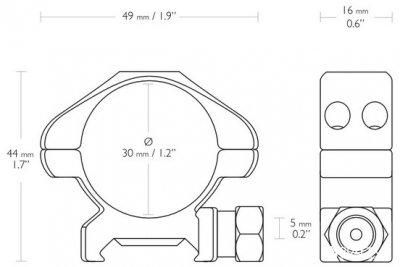 Крепление для оптического прицела Hawke Precision 30mm/Weaver/Low (924774)