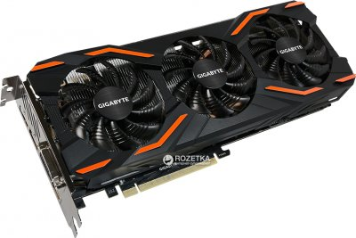 Gigabyte PCI-Ex GeForce GTX 1080 Windforce OC 8GB GDDR5X (256bit) (1632/10010) (DVI, HDMI, 3 x DisplayPort) (GV-N1080WF3OC-8GD)