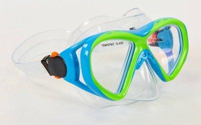 Набор для плавания подростковый маска с трубкой Zelart M258-SN93-PVC голубой-салатовый