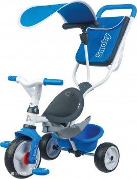 Детский металлический велосипед Smoby с козырьком, багажником и сумкой Синий (741102) (3032167411020)