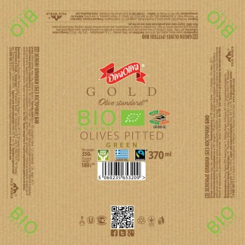 Зеленые оливки Diva Oliva Gold без косточки Био 370 мл (5060235653209)