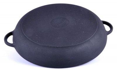 Сковорода-гриль кругла з двома литими ручками чавунна Сітон 26 см