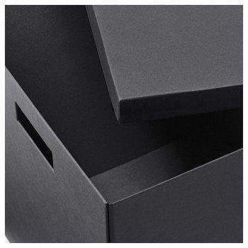 Коробка з кришкою IKEA TJENA 30x30x30 см чорна 503.954.76