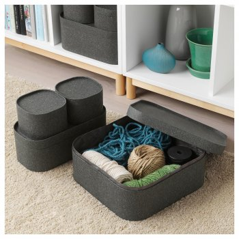Набір коробок з кришкою IKEA SAMMANHANG 4 шт темно-сірі 004.123.55