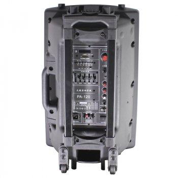 Акустична система LAV PA-120 Black Потужність 400 Вт висувна ручка Bluetooth Радіо мікрофон і пульт в комплекті