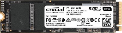 Crucial P1 NVMe 500GB M.2 PCIe 3.0 x4 (CT500P1SSD8)