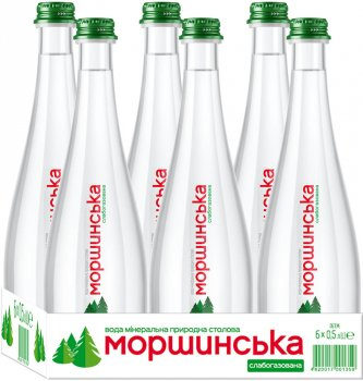 Упаковка минеральной природной столовой слабогазированной воды Моршинська Premium 0.5 л х 6 бутылок (9869005654400_4820017000239)