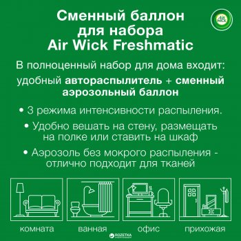 Сменный аэрозольный баллон к Air Wick Freshmatic Анти-табак Апельсин и бергамот 250 мл (4607109402221)