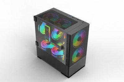 Корпус 2E Gaming CALLEO (GB701) MiniT, 2*USB2.0,1*USB3.0, 3*120ARGB, стекло (бок.пан.),без БП,черн.