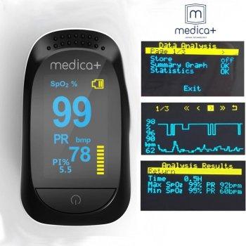 Японський портативний Пульсоксиметр на палець Medica-plus Cardio control 7.0 Високоточний technology Japan Гарантія 24 місяці Чорний
