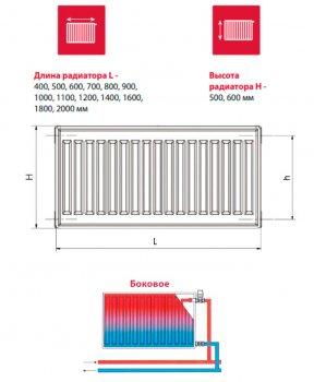 Радиатор HI-THERM Compact 500x1100 мм Тип 22 боковой (22-050110-3H-10)
