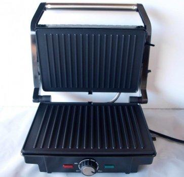 Гриль Rainberg контактний електричний притискної з терморегулятором Original 2200 Вт Сталевий з чорним (RB-5402)