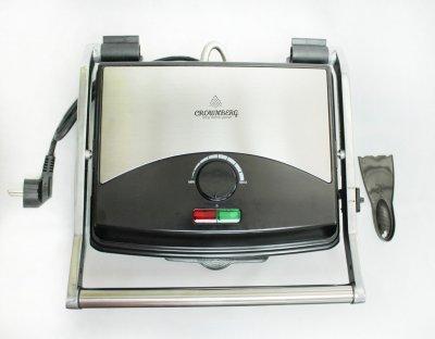 Гриль Crownberg електричний притискної з терморегулятором 2000Вт Сріблясто-чорний (CB-1067)