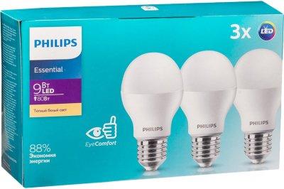 Світлодіодна лампа Philips ESS LED Bulb 9 W E27 3000 K 3 шт. (929001899847)