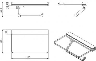 Держатель для туалетной бумаги VOLLE Teo 15-88-446 с полочкой матовое стекло/хром