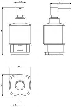 Дозатор для рідкого мила VOLLE Teo 15-88-121 матове скло/хром