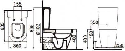 Унитаз-биде компакт IDEVIT Alfa Rimless SETK3104-0315-001-1-6200 с сиденьем Soft Close дюропласт + бачок