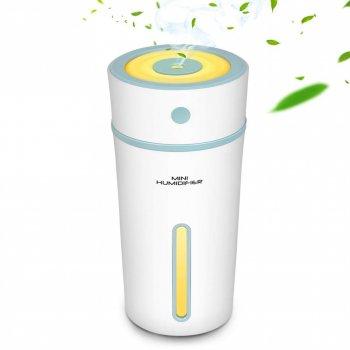 Увлажнитель воздуха ароматизатор диффузер ночник Mini Humidifier 300 мл micro USB ультразвуковой Белый/Голубой
