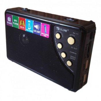 Акустична система Golon радіоприймач акумуляторний колонка з функцією Power Bank радіо Чорний (RX-111)