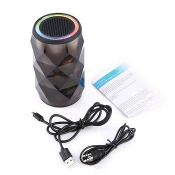 Портативна колонка Pulse світлодіодна світломузика Bluetooth 13,5 см Чорна (CR-4)