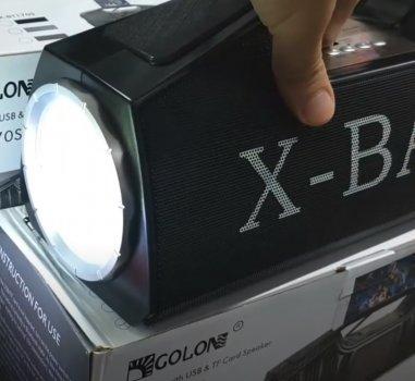 Портативная колонка Golon с LED фонарем и ручкой-подставкой для смартфона Черная (RX-BT160)