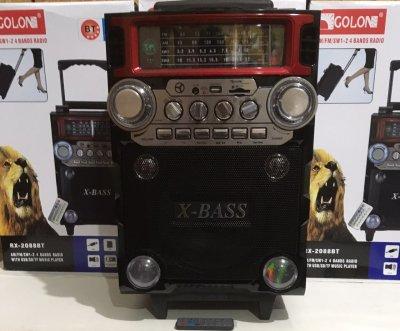 Колонка комбик усилитель Bluetooth с беспроводным микрофоном Golon X-BASS RX2088BT-S с пультом управления FM/USB/TF/BT