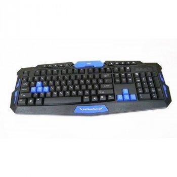 Комплект безпровідний KEYBOARD HK-8100 російська Ігрова клавіатура з мишкою Чорний з синім