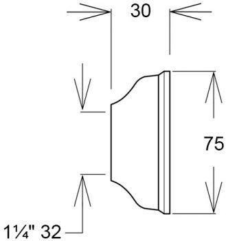 Чашка GHIDINI DN32 х 75 / 30 мм латунь хром (836)