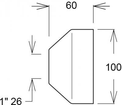 Чашка GHIDINI DN26 х 100 / 60 мм латунь хром (836E)