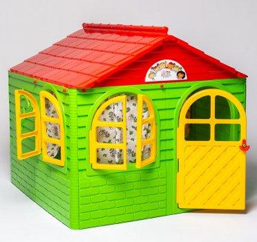 Детский игровой домик со шторками Зелено-красный 129 х 129 х 120 см (01-02550/0302) (4822003280212)
